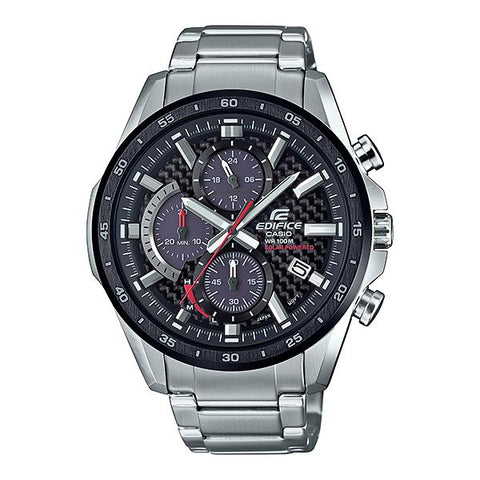 Casio Edifice Solar Powered Chronograph Silver Stainless Band Watch EQS900DB-1A EQS-900DB-1A