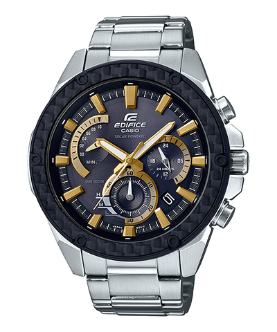 Casio Edifice Solar-Powered Chronograph Silver Stainless Steel Band Watch EQS910D-1B EQS-910D-1B
