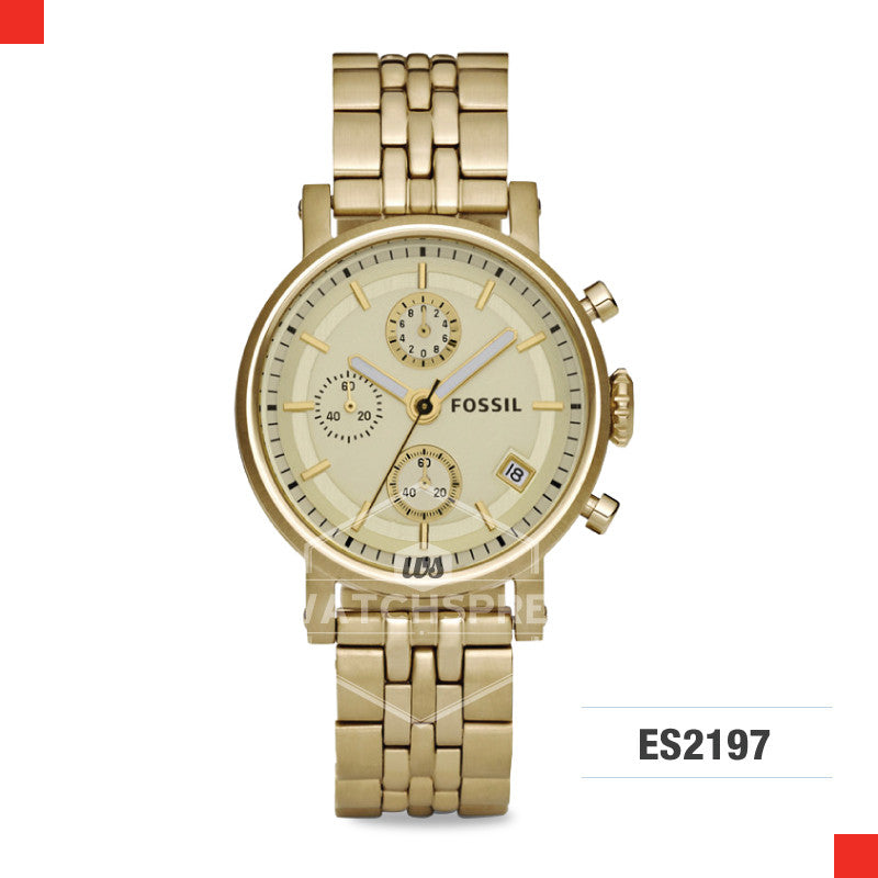 Fossil Ladies Original Boyfriend Chronograph Gold-Tone Stainless Steel Watch ES2197