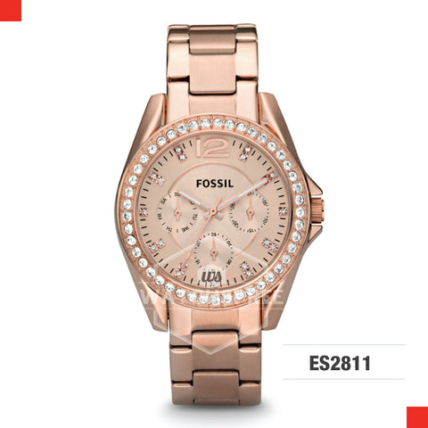 Fossil Ladies Riley Multifunction Rose Gold Stainless Steel Strap Watch ES2811