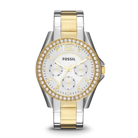 Fossil ladies' Riley Multifunction Two-Tone Stainless Steel Band Watch ES3204