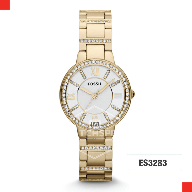 Fossil Ladies Virginia Gold Stainless Steel Strap Watch ES3283