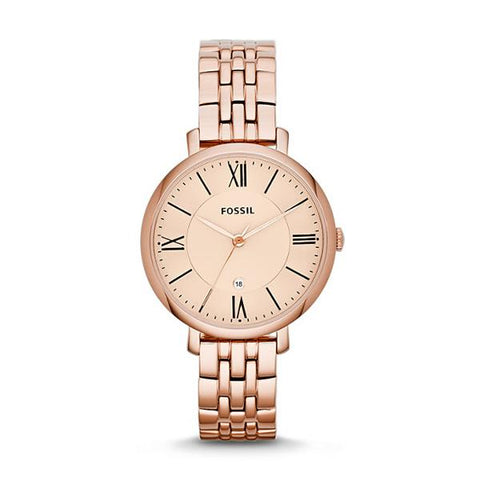 Fossil Ladies' Jacqueline Rose-Tone Stainless Steel Band Watch ES3435