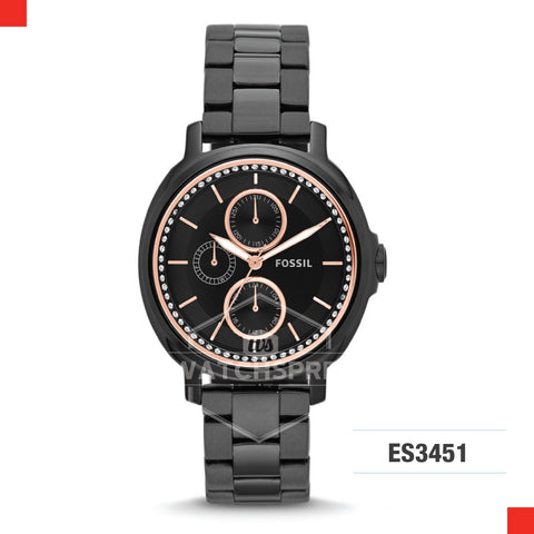 Fossil Ladies Chelsey Multifunction Black Stainless Steel Watch ES3451