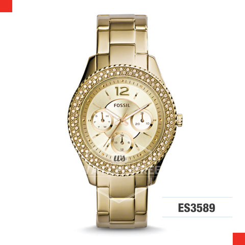 Fossil Ladies Stella Multifunction Gold-Tone Stainless Steel Watch ES3589