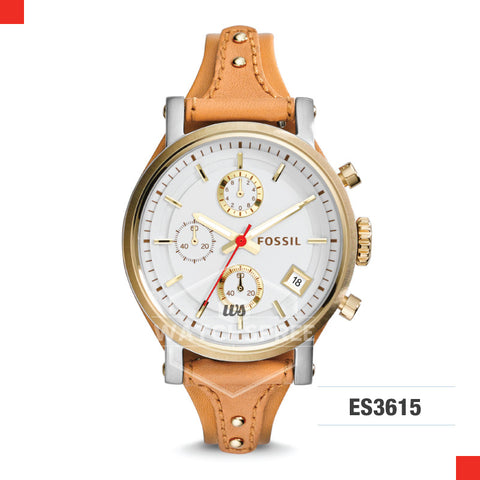 Fossil Ladies Original Boyfriend Chronograph Tan Leather Watch ES3615