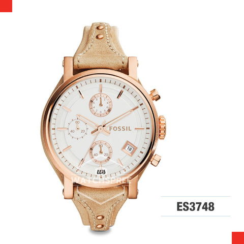 Fossil Ladies Original Boyfriend Chronograph Sand Leather Watch ES3748