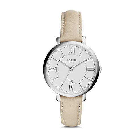 Fossil Ladies' Jacqueline Beige Leather Watch ES3793