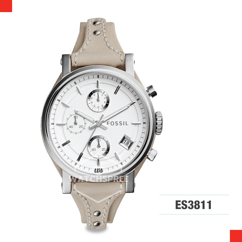 Fossil Ladies Original Boyfriend Chronograph Beige Leather Watch ES3811