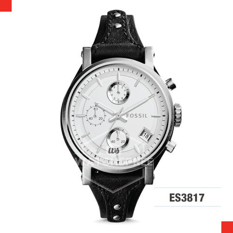 Fossil Ladies Original Boyfriend Chronograph Black Leather Watch ES3817