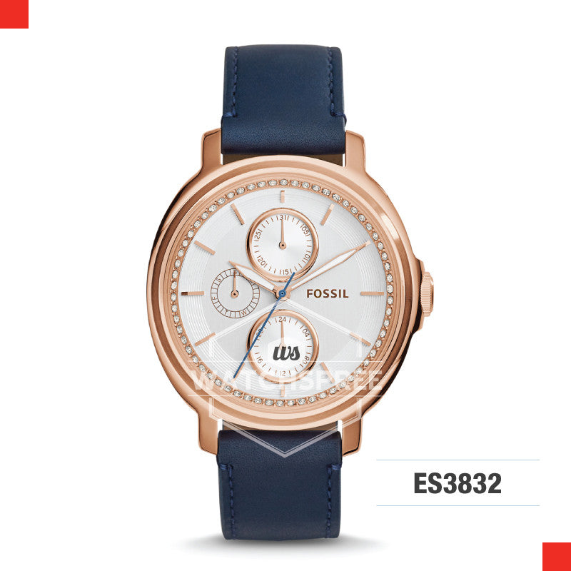 Fossil Ladies Chelsey Multifunction Navy Leather Watch ES3832