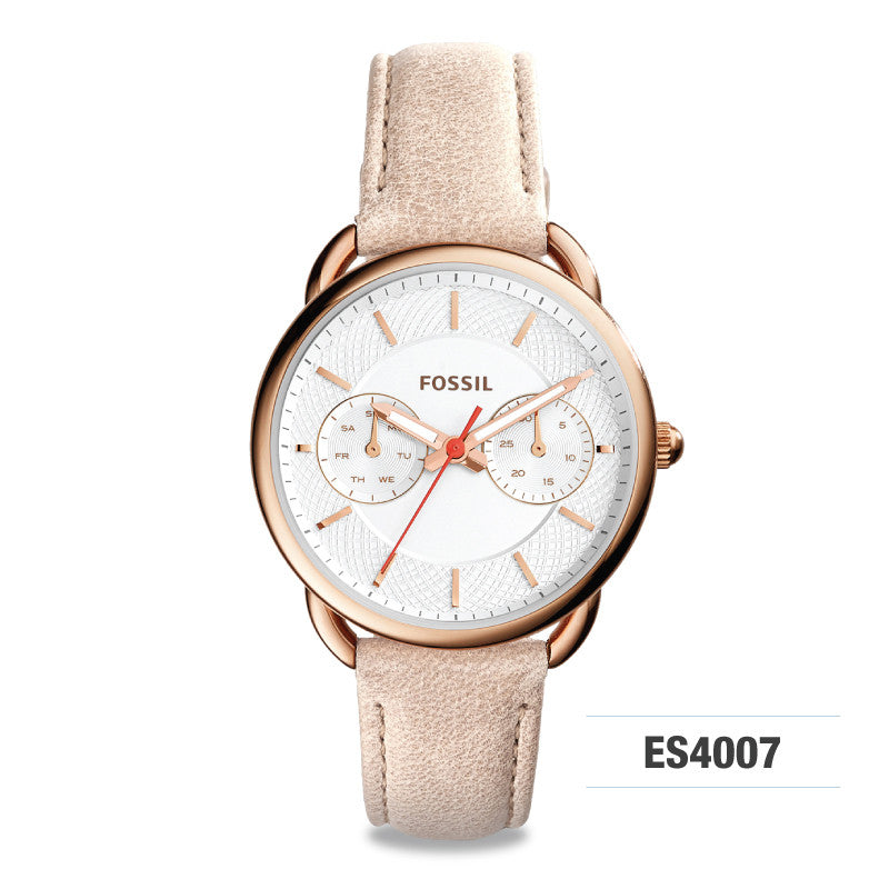 Fossil Tailor Multifunction Light Brown Ladies' Leather Watch ES4007