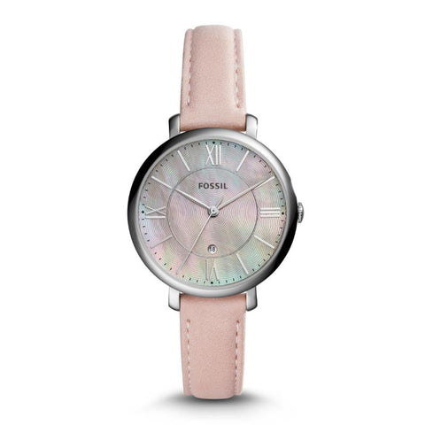 Fossil Ladies' Jacqueline Three-Hand Date Blush Leather Watch ES4151
