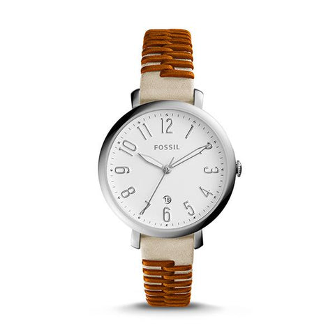 Fossil Ladies' Jacqueline Three Hand Date Two-Tone Leather Watch ES4209