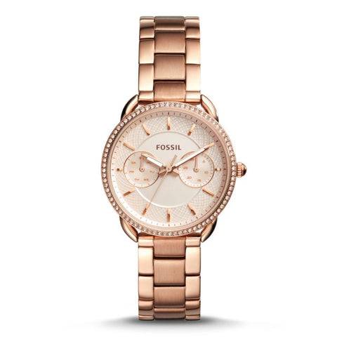 Fossil Ladies' Tailor Multifunction Rose Gold Stainless Steel Band Watch ES4264
