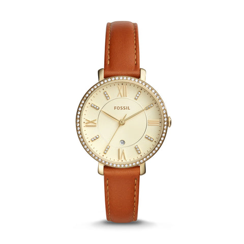 Fossil Ladies' Jacqueline Three-Hand Date Luggage Leather Watch ES4293