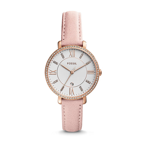 Fossil Ladies' Jacqueline Three-Hand Date Blush Leather Watch ES4303