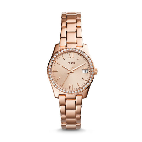 Fossil Ladies' Scarlette Three-hand Date Rose Gold Tone Stainless Steel Watch ES4318