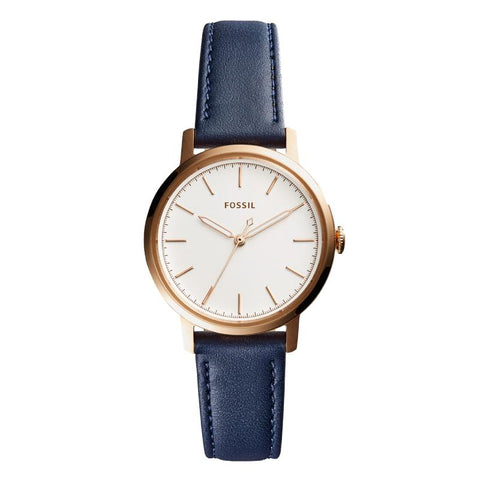 Fossil Ladies' Neely Three-Hand Navy Blue Leather Strap Watch ES4338