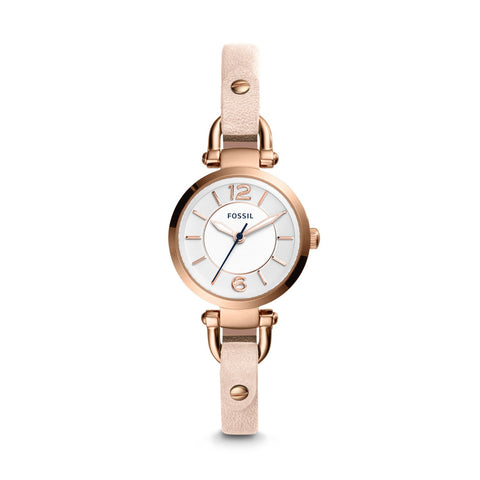 Fossil Ladies' Georgia Three-Hand Blush Leather Watch ES4340