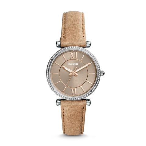 Fossil Ladies' Carlie Three Hand Sand Leather Watch ES4343