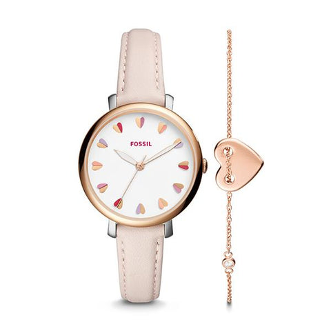 Fossil Ladies' Jacqueline Three-Hand Pastel Pink Leather Watch and Jewelry Box Set ES4351SET
