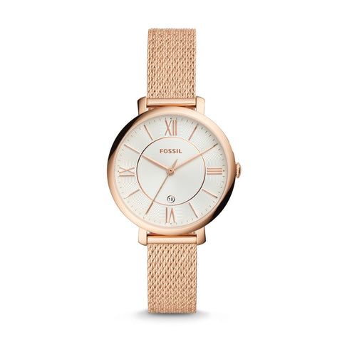 Fossil Ladies' Jacqueline Three-Hand Rose Gold-Tone Stainless Steel Watch ES4352