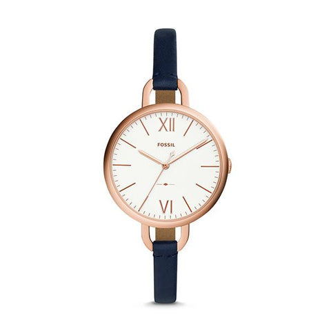 Fossil Ladies' Annette Three-Hand Navy Leather Watch ES4355