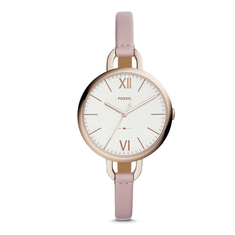 Fossil Ladies' Annette Three-Hand Pastel Pink Leather Watch ES4356