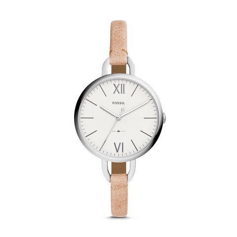 Fossil Ladies' Annette Three-Hand Sand Leather Strap Watch ES4357