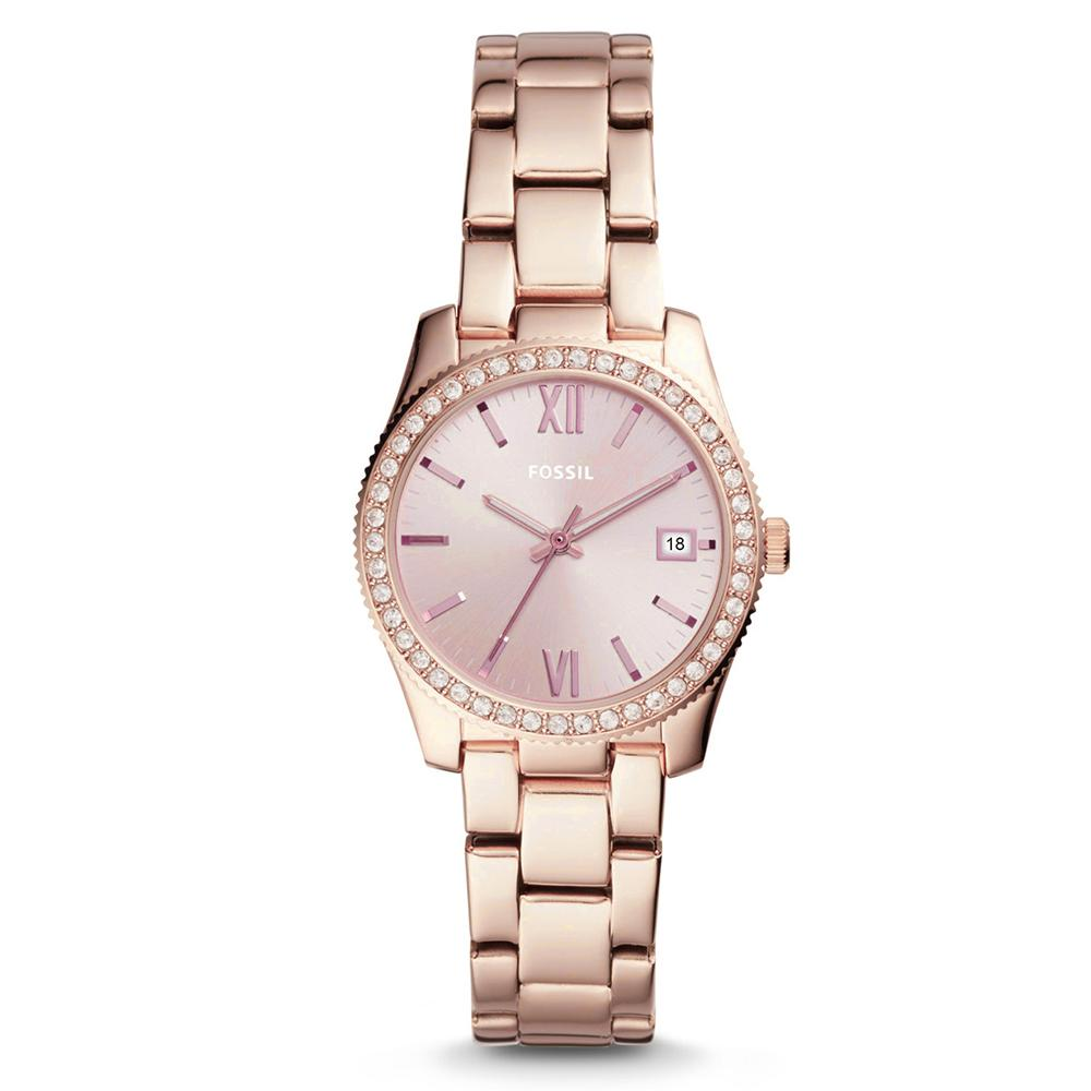 Fossil Ladies' Scarlette Three Hand Date Pastel Pink Stainless Steel Watch ES4363