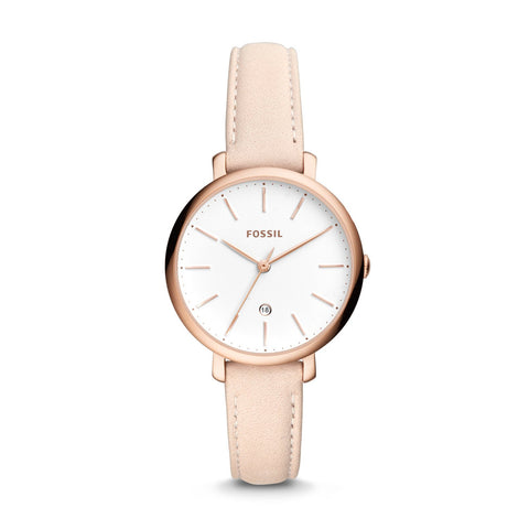 Fossil Ladies' Jacqueline Three-Hand Date Pastel Pink Leather Watch ES4369