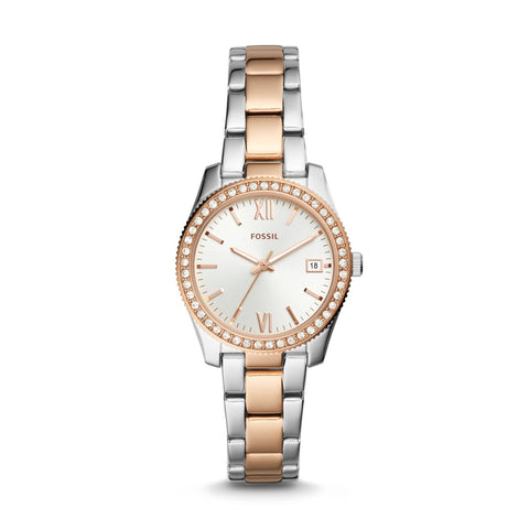 Fossil Ladies' Scarlette Three-Hand Date Two-Tone Stainless Steel Watch ES4372