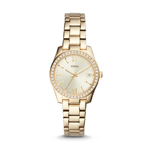 Fossil Ladies' Scarlette Three-Hand Date Gold-Tone Stainless Steel Watch ES4374