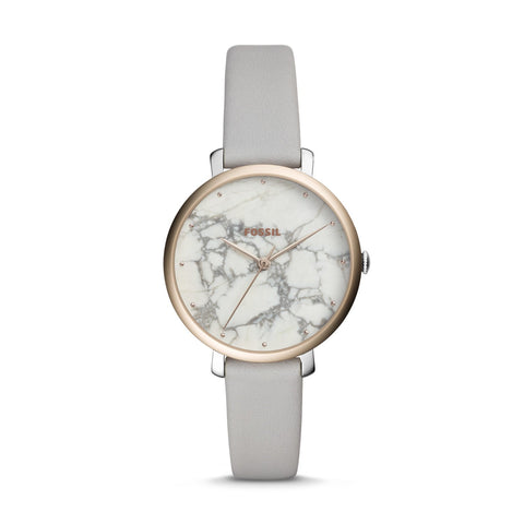 Fossil Ladies' Jacqueline Three-Hand Mineral Grey Leather Watch ES4377