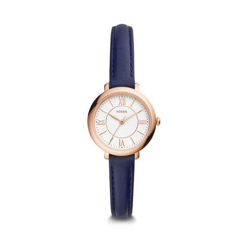 Fossil Ladies' Jacqueline Three-Hand Navy Leather Watch ES4410