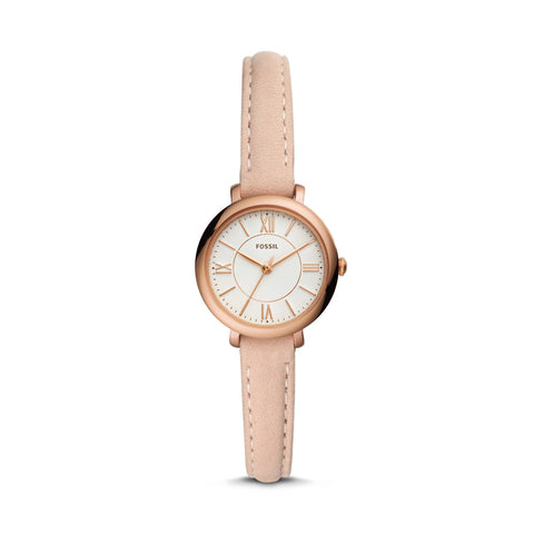 Fossil Ladies' Jacqueline Mini Three-Hand Blush Leather Watch ES4411