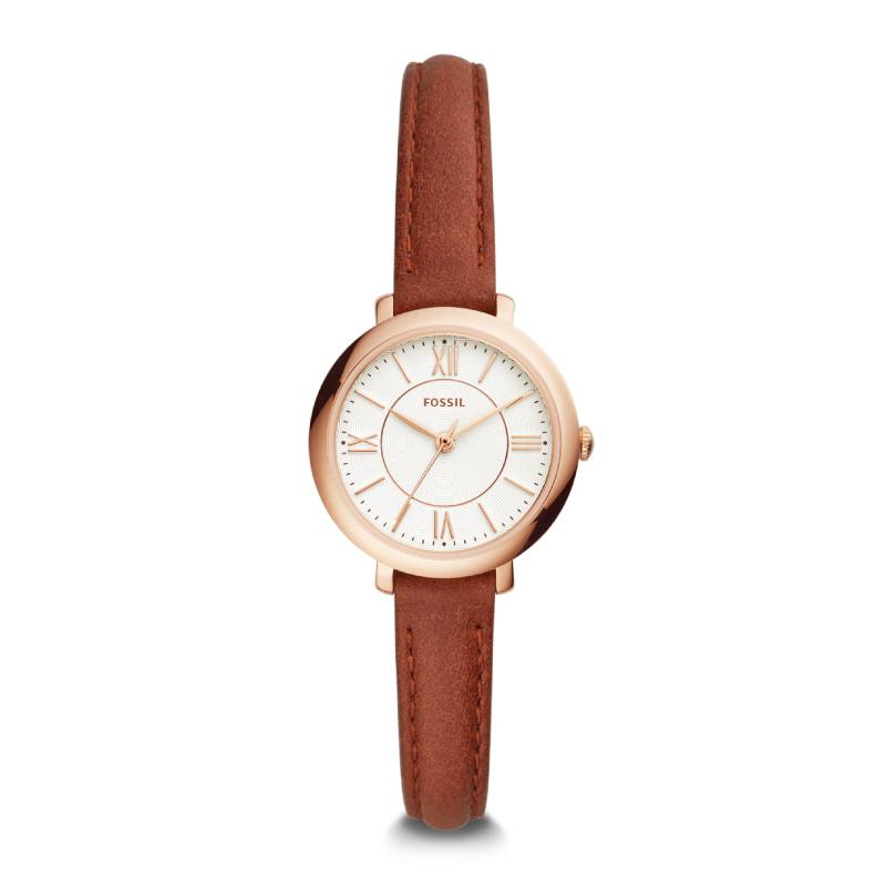 Fossil Ladies' Jacqueline Three-Hand Terracotta Leather Watch ES4412