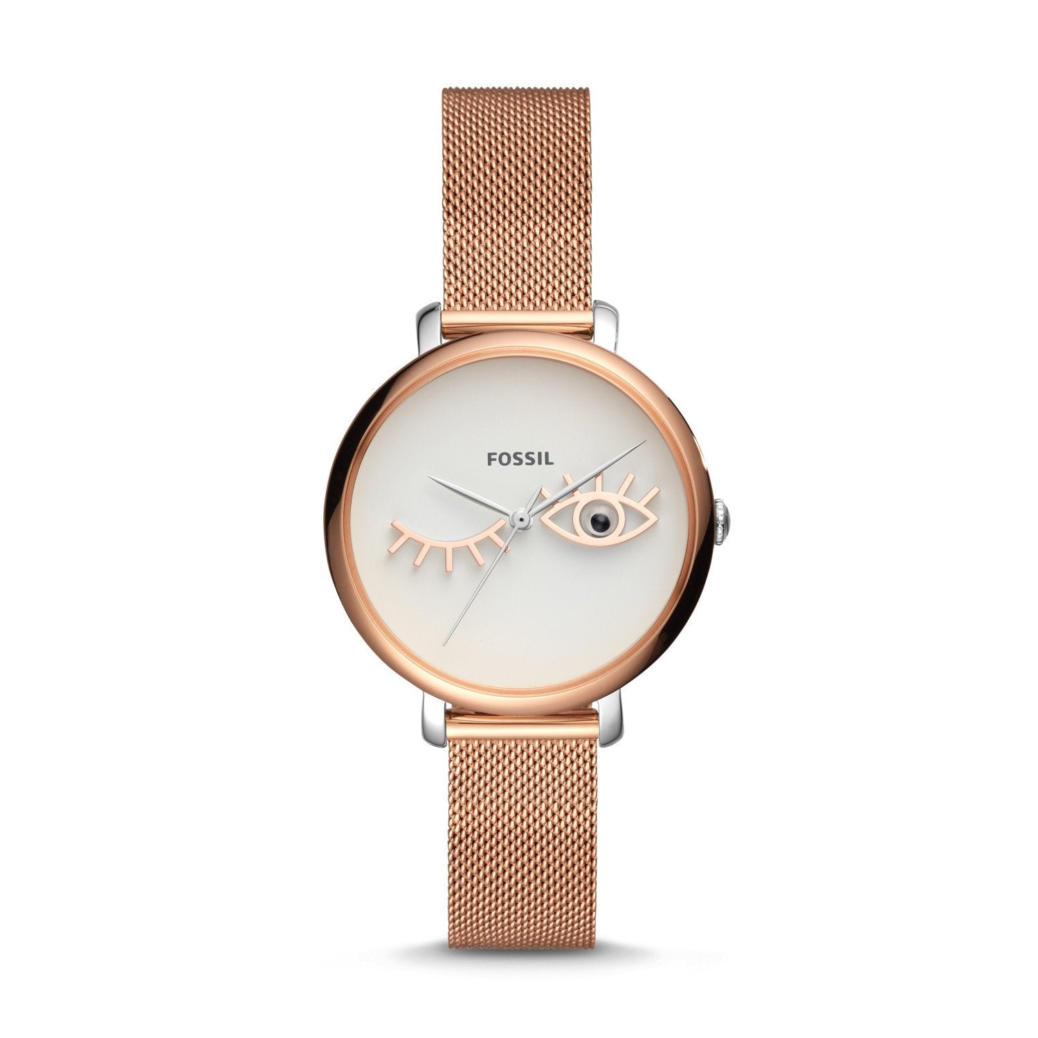 Fossil Ladies' Jacqueline Wink Eye Three-Hand Rose Gold Tone Stainless Steel Watch ES4414