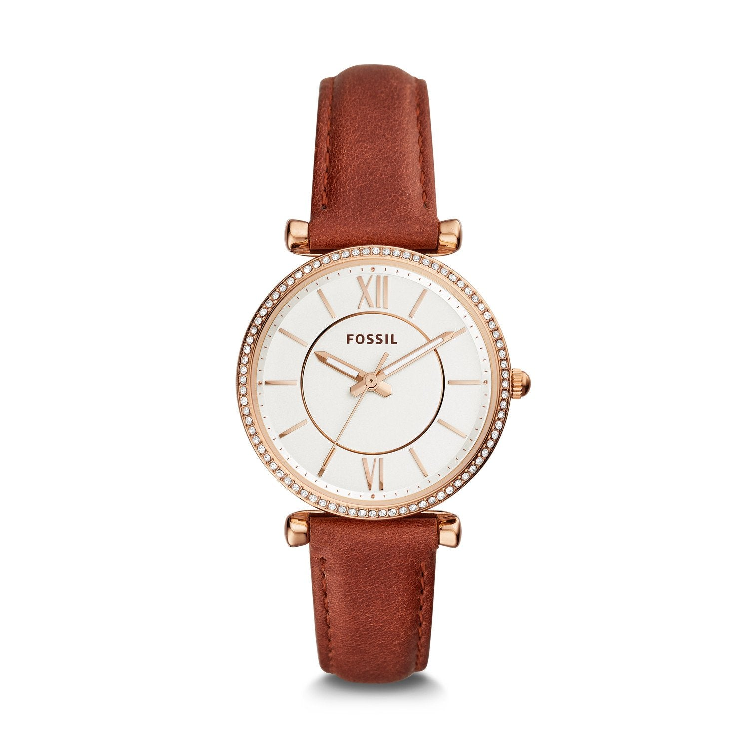 Fossil Ladies' Carlie Three-Hand Terracotta Leather Watch ES4428