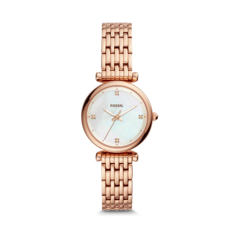 Fossil Ladies' Carlie Mini Three-Hand Rose Gold-Tone Stainless Steel Watch ES4429