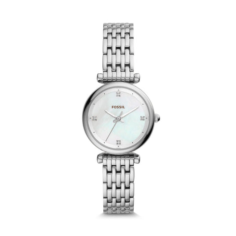 Fossil Ladies' Carlie Mini Three-Hand Stainless Steel Watch ES4430