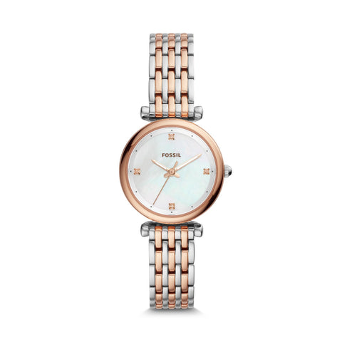 Fossil Ladies' Carlie Mini Three-Hand Two-Tone Stainless Steel Watch ES4431