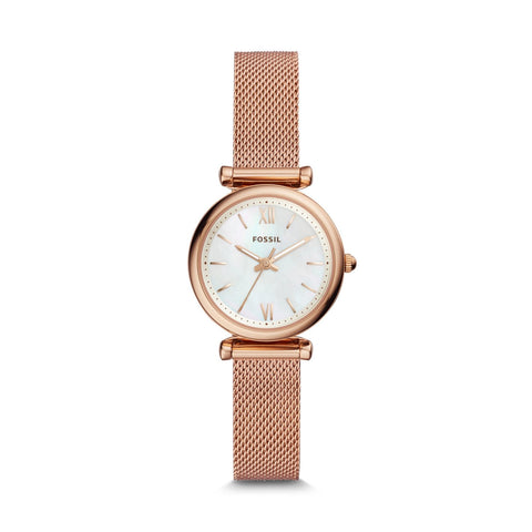 Fossil Ladies' Carlie Mini Three-Hand Rose Gold Tone Stainless Steel Watch ES4433