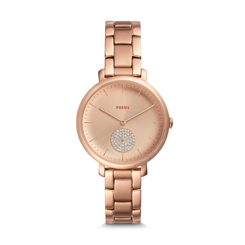 Fossil Ladies' Jacqueline Three-Hand Rose Gold Tone Stainless Steel Watch ES4438