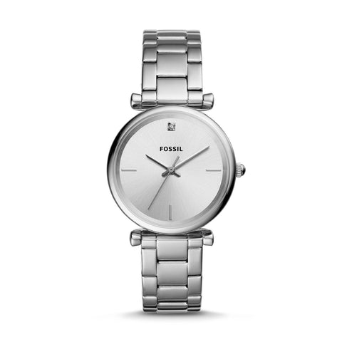 Fossil Ladies' The Carbon Series Three Hand Stainless Steel Watch ES4440