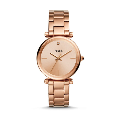 Fossil Ladies' The Carbon Series Three Hand Rose Gold Tone Watch ES4441