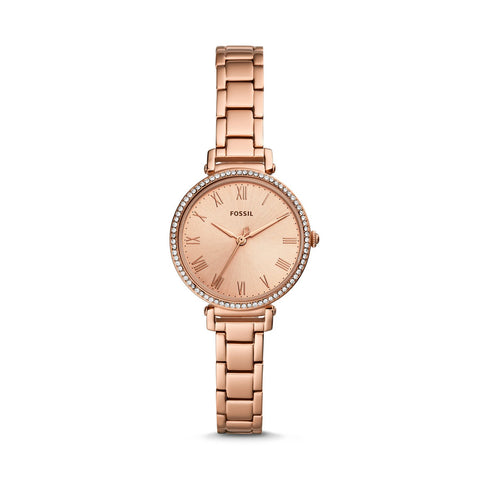 Fossil Ladies' Kinsey Three-Hand Rose Gold Tone Stainless Steel Watch ES4447