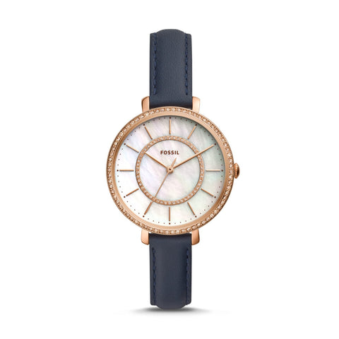Fossil Ladies' Jocelyn Three-Hand Navy Leather Watch ES4456
