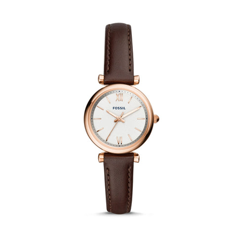 Fossil Ladies' Carlie Mini Three-Hand Brown Leather Watch ES4472